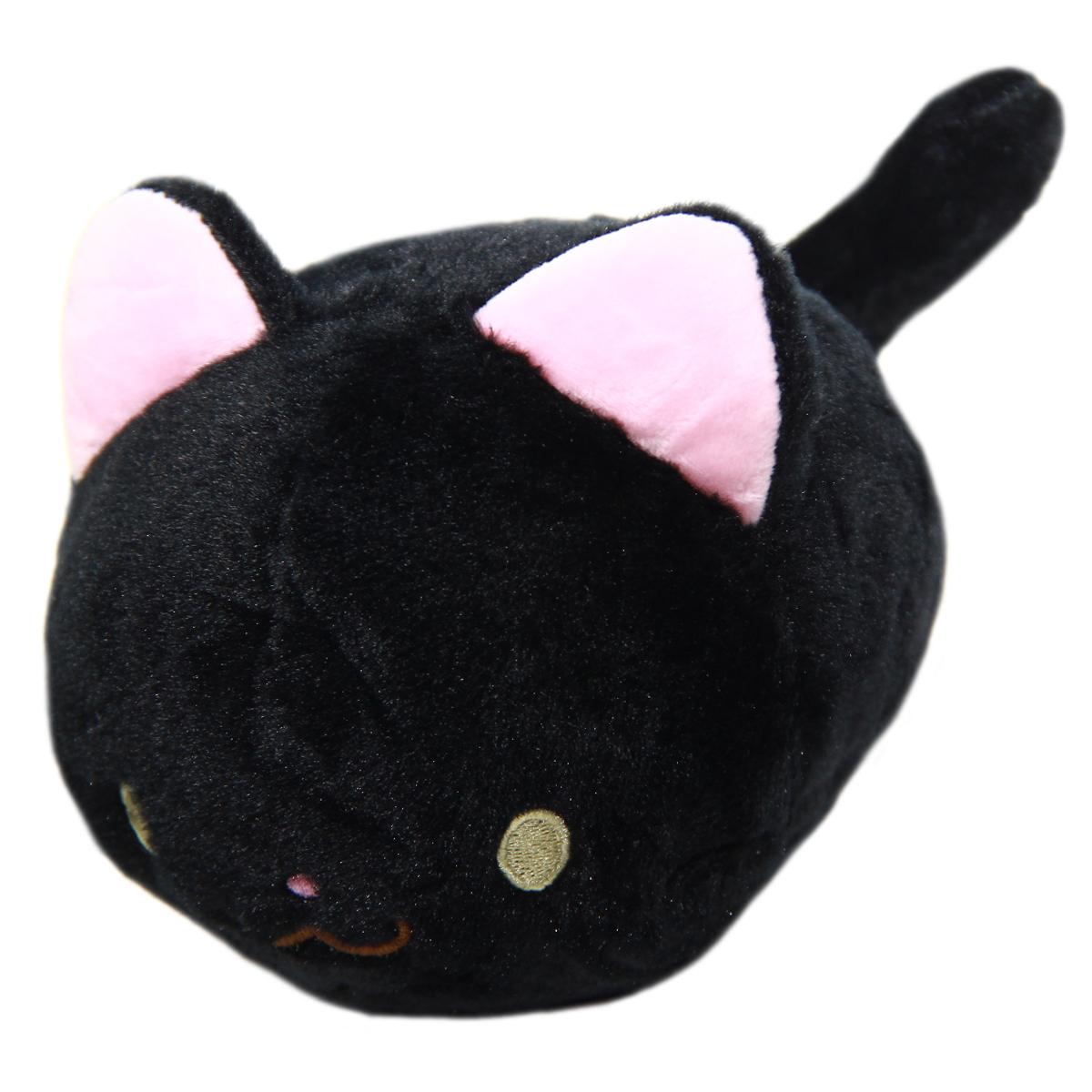 Kawaii Neko Plushie Black Cat Plush Doll Super Soft Stuffed Animal Standard Size 6