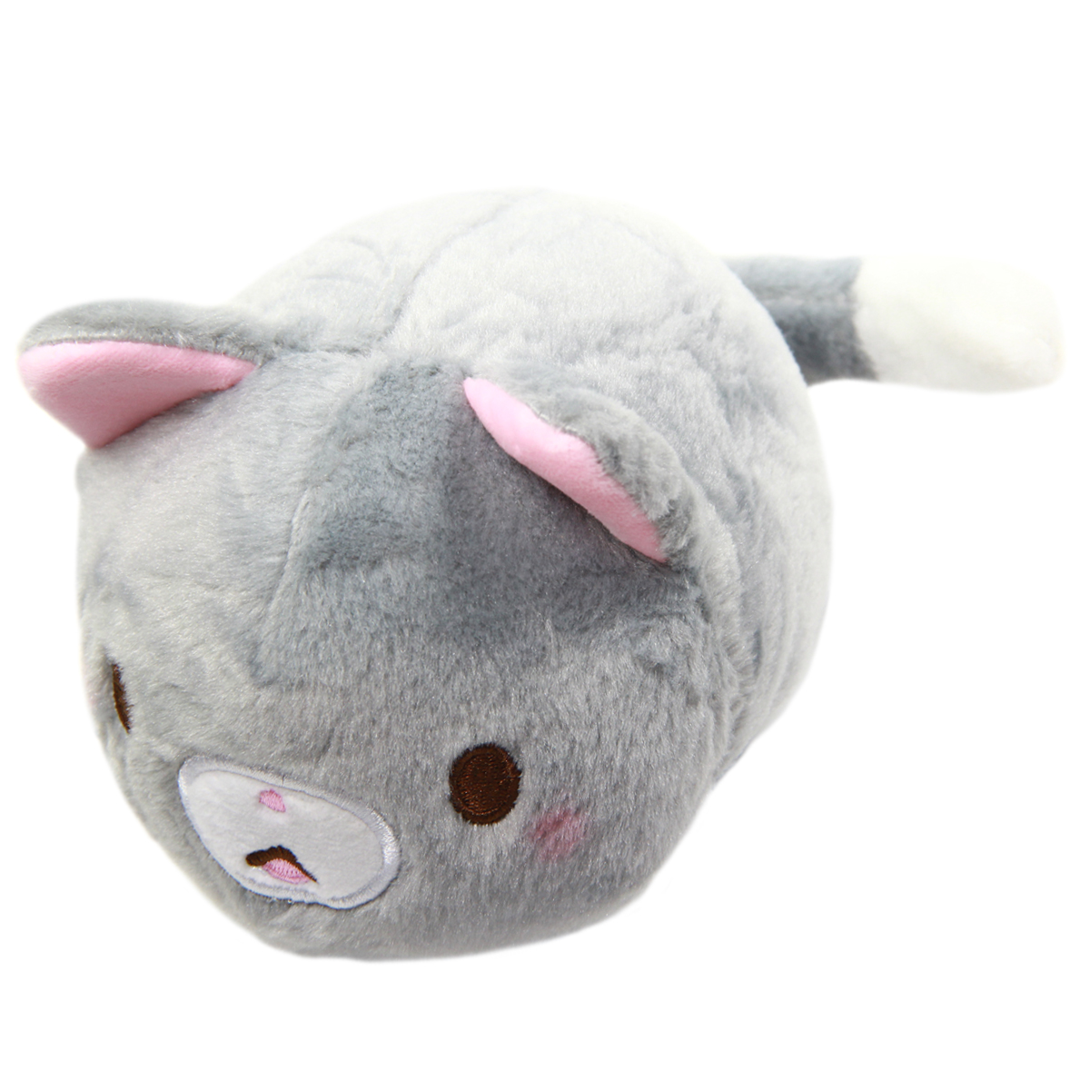 Kawaii Neko Plushie Grey Cat Plush Doll Super Soft Stuffed Animal Standard Size 6