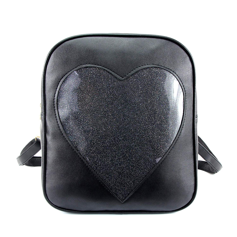 ITA Bag Black Transparent Glitter Heart Backpack Harajuku Purse Traveler Bag Girls