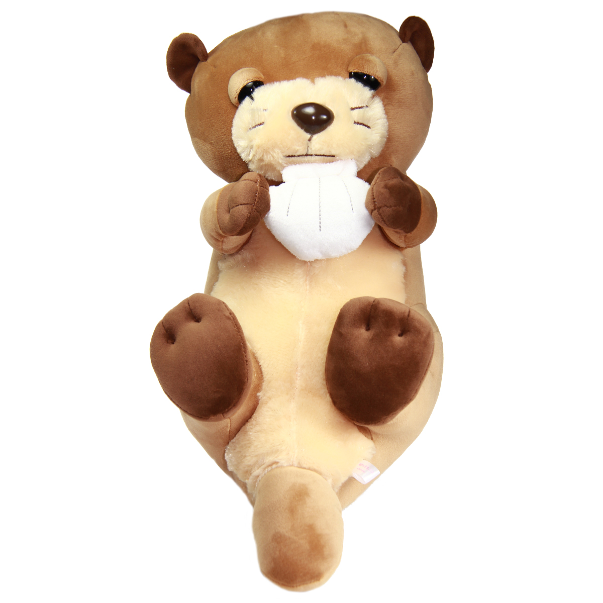 Mochi Puni Kawauso Collection Soft Sleepy Otter Plush Toy With Sea Shell Brown 17 Inches