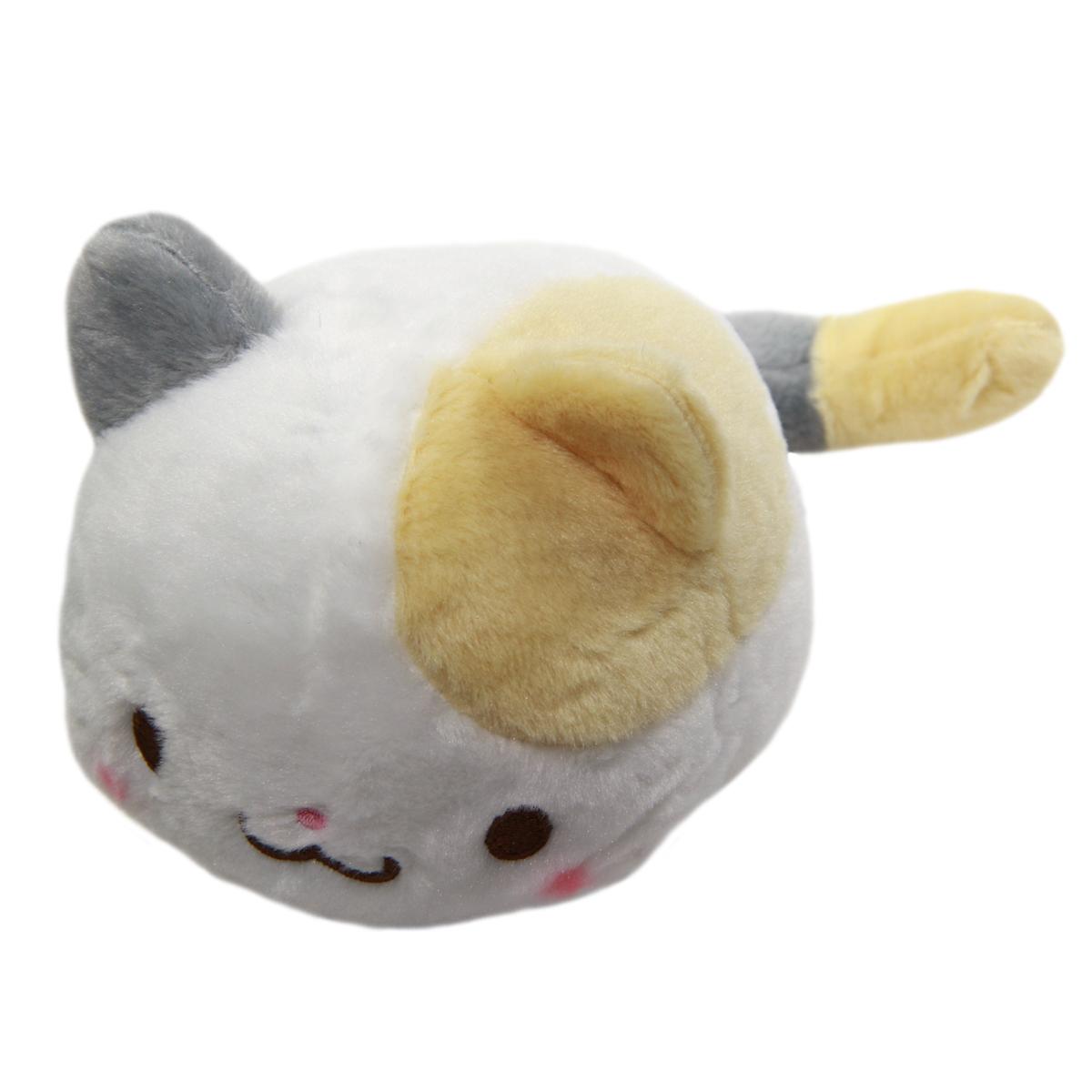 Kawaii Neko Plushie White/Beige/Grey Cat Plush Doll Super Soft Stuffed Animal Standard Size 6