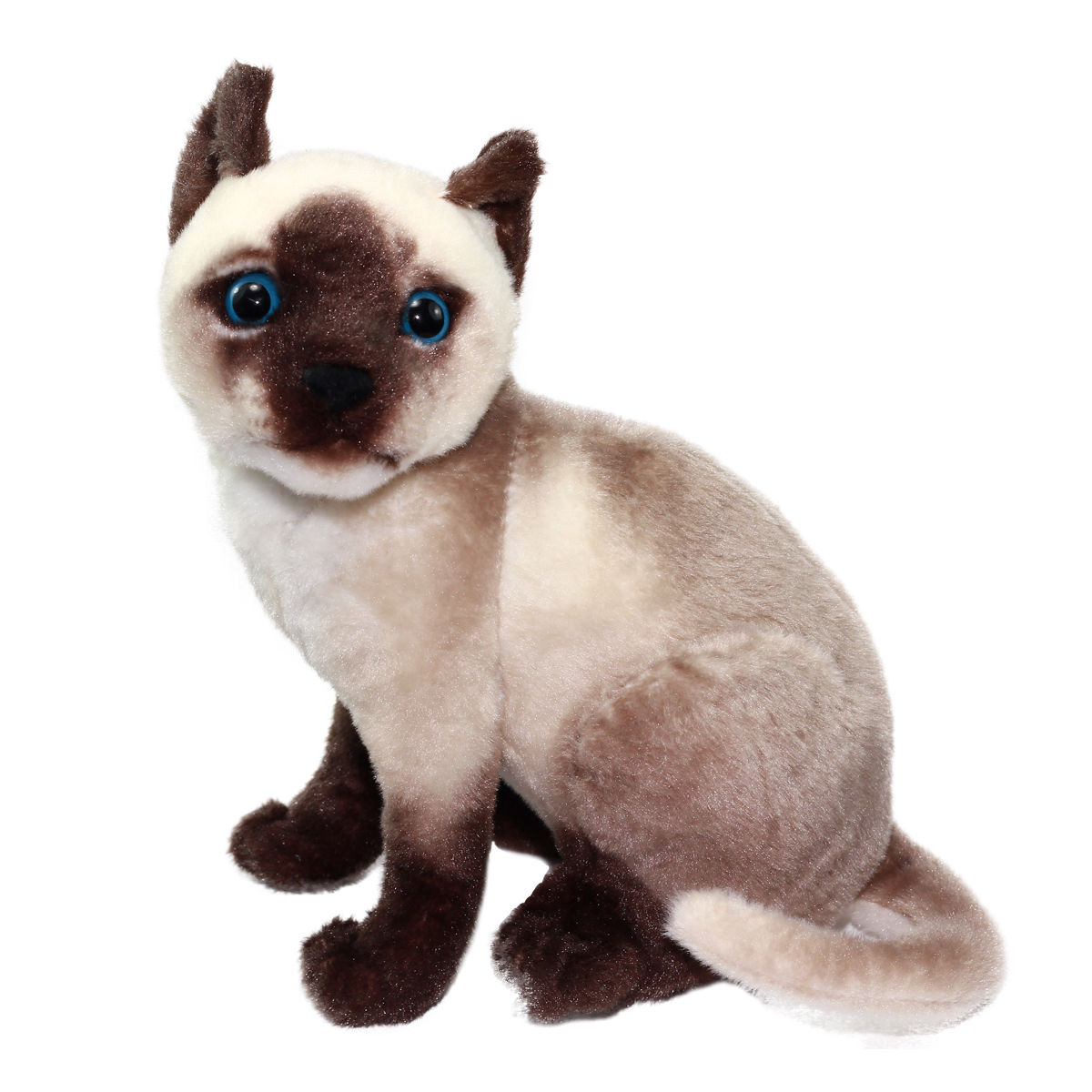 Real Cat Plush Collection Stuffed Animal Toy Brown Siamese Cat 10 Inches
