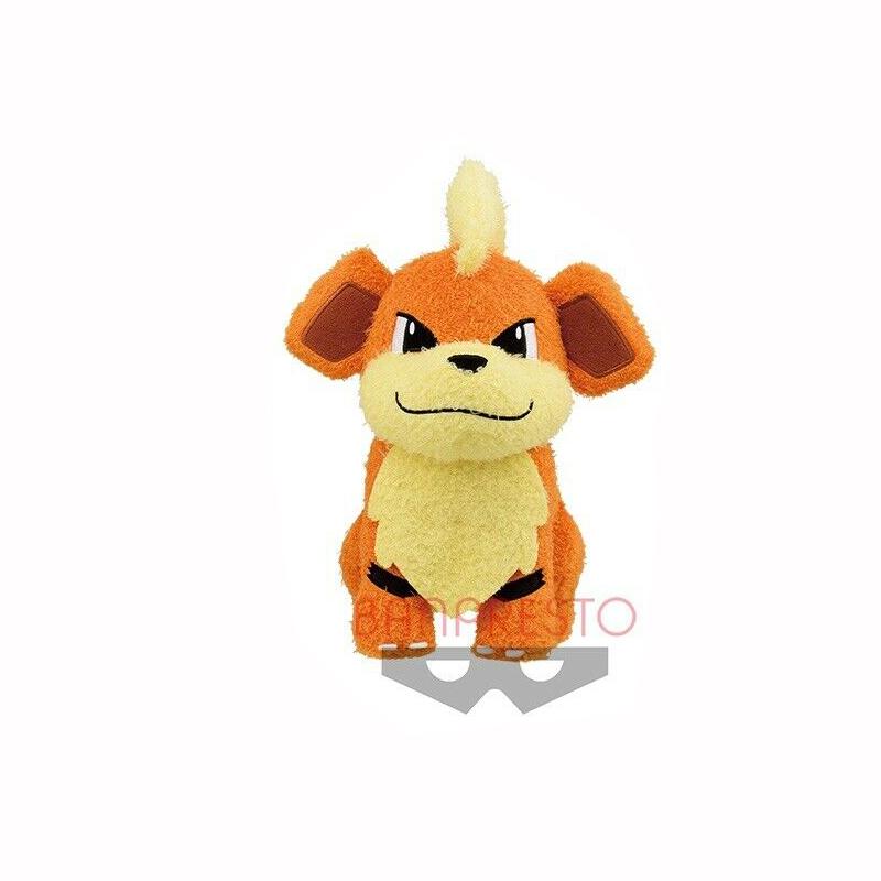Pokemon Sun & Moon Growlithe Plush Doll Hopepita Dekkai 10 Inches Banpresto